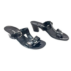 Paul Green Black Patent Leather Sandals w/ Silver